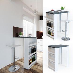 VICCO Bartisch Bar Tresen Weiß Anthrazit Bartresen Stehtisch Tisch Tresentisch Bistrotisch Küche - Bild 1