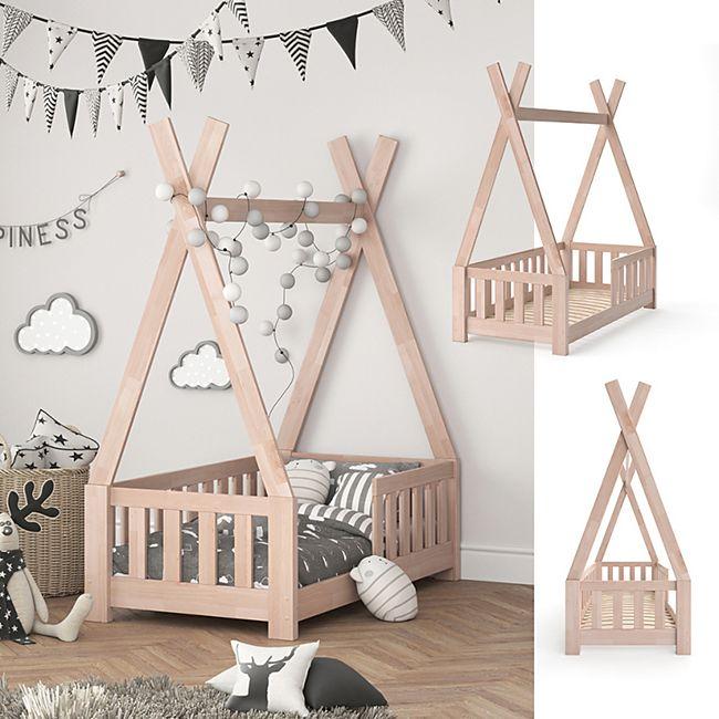 VITALISPA Kinderbett TIPI Indianer Bett Kinderhaus Holz Hausbett 70x140cm Natur - Bild 1