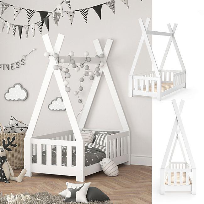 VITALISPA Kinderbett TIPI Indianer Bett Kinderhaus Holz Hausbett 70x140cm Weiß - Bild 1