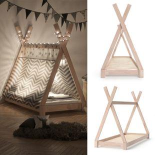VITALISPA Kinderbett TIPI Indianer Bett Kinderhaus Holz Hausbett 80x160cm Natur - Bild 1