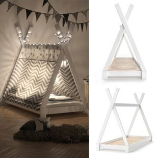 VITALISPA Kinderbett TIPI Indianer Bett Kinderhaus Holz Hausbett 80x160cm Weiß - Bild 1