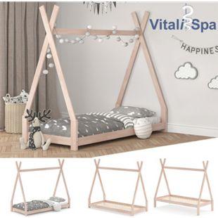 VITALISPA Kinderbett TIPI Hausbett natur Bett Kinderhaus Holz Indianer 90x200 - Bild 1