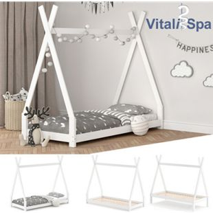 VITALISPA Kinderbett TIPI Hausbett weiß Bett Kinderhaus Holz Indianer 90x200 - Bild 1
