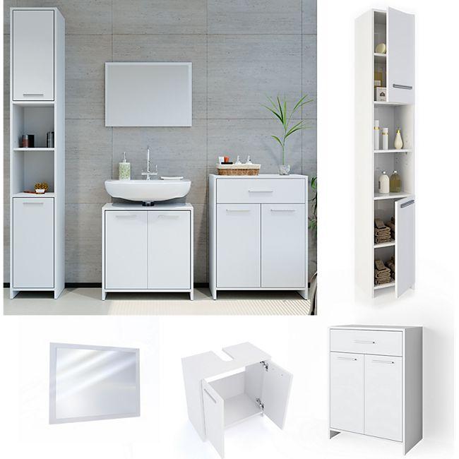 VICCO Badmöbel Set KIKO Weiß - Badezimmer Badspiegel Hochschrank Beistellschrank - Bild 1