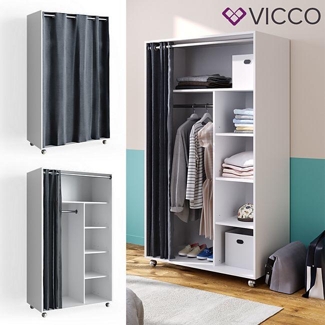 VICCO mobiler Kleiderschrank DOROS auf Rollen Dielenschrank offen Garderobe - Bild 1