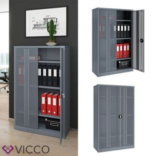 Vicco Aktenschrank Büroschrank Werkzeugschrank Metallschrank (Grau 140x85x39cm) - Bild 1
