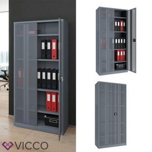 Vicco Aktenschrank Büroschrank Werkzeugschrank Metallschrank (Grau 180x85x39cm) - Bild 1