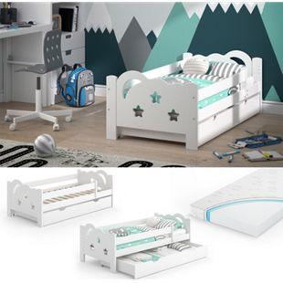 VitaliSpa Kinderbett Sari 140x70cm weiß mit Schubladen Jugendbett Rausfallschutz mit Matratze - Bild 1