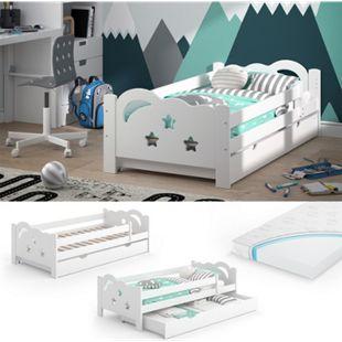 VitaliSpa Kinderbett Sari 160x80cm weiß mit Schubladen Jugendbett Rausfallschutz mit Matratze - Bild 1
