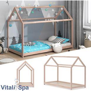 VITALISPA Hausbett WIKI 90x200 Natur Kinderbett Kinderhaus Kinder Bett Holz - Bild 1