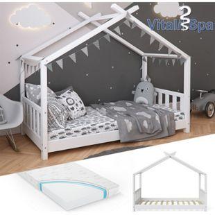 VITALISPA Kinderbett Hausbett DESIGN 80x160cm Weiß Zaun Kinder Holz Haus Hausbett mit Matratze - Bild 1