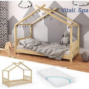 VITALISPA Kinderbett Hausbett DESIGN 80x160cm Natur Zaun Kinder Holz Haus Hausbett mit Matratze - Bild 1
