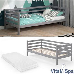 VITALISPA Kinderbett DARCY 90x200cm Grau mit Matratze - Bild 1