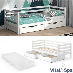 VITALISPA Kinderbett DARCY 90x200cm Weiß Lattenrost Schubladen Jugendbett Bett inklusive Matratze - Bild 1