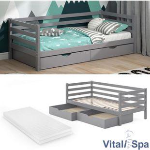 VITALISPA Kinderbett DARCY 90x200cm Grau Lattenrost Schubladen Jugendbett Bett inklusive Matratze - Bild 1