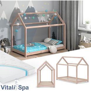 VITALISPA Hausbett WIKI 80x160 Natur Kinderbett Kinderhaus Matratze Bett Holz - Bild 1