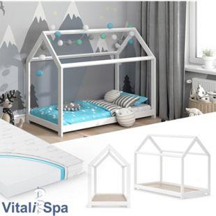 VITALISPA Hausbett WIKI 80x160 Weiß Kinderbett Kinderhaus Matratze Bett Holz - Bild 1