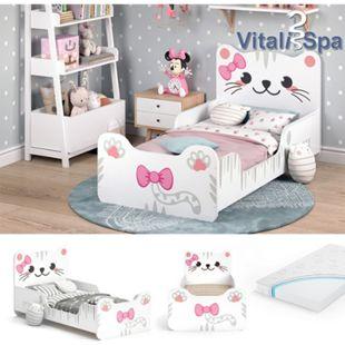 VITALISPA Kinderbett IZZY 80x160 cm Weiß Juniorbett Jugendbett Katze Mädchenbett - Bild 1