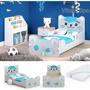 VITALISPA Kinderbett TOMMY 80x160 cm Grau Juniorbett Jugendbett Katze Jungenbett inklusive Matratze - Bild 1