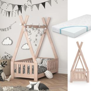 VITALISPA Kinderbett TIPI Indianer Kinderhaus Hausbett 70x140cm Natur Matratze - Bild 1