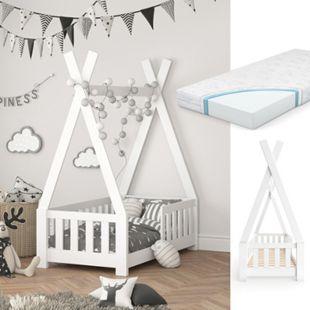 VITALISPA Kinderbett TIPI Indianer Kinderhaus Hausbett 70x140cm Weiß Matratze - Bild 1
