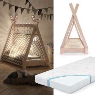 VITALISPA Kinderbett TIPI Indianer Bett Kinderhaus Holz Hausbett 70x140cm Natur mit Matratze - Bild 1