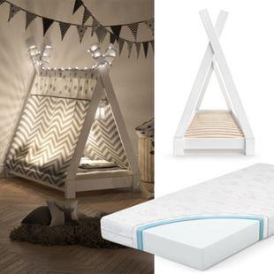 VITALISPA Kinderbett TIPI Indianer Bett Kinderhaus Holz Hausbett 70x140cm Weiß mit Matratze - Bild 1