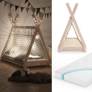 VITALISPA Kinderbett TIPI Indianer Bett Kinderhaus Holz Hausbett 80x160cm Natur mit Matratze - Bild 1
