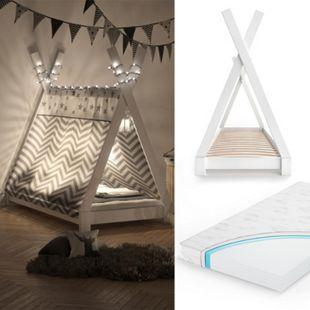 VITALISPA Kinderbett TIPI Indianer Bett Kinderhaus Holz Hausbett 80x160cm Weiß mit Matratze - Bild 1