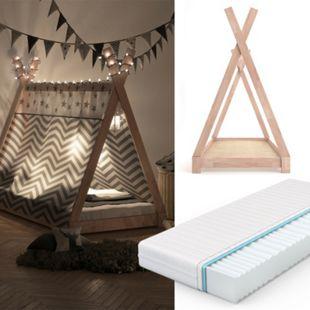 VITALISPA Kinderbett TIPI Indianer Bett Kinderhaus Holz Hausbett 90x200cm Natur + Matratze - Bild 1