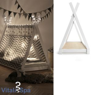 VITALISPA Kinderbett TIPI Indianer Bett Kinderhaus Holz Hausbett 90x200cm Weiß mit Matratze - Bild 1