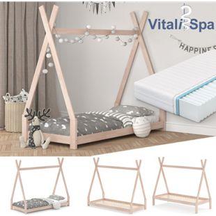 VITALISPA Kinderbett TIPI Hausbett natur Bett Kinderhaus Holz Indianer 90x200cm - Bild 1