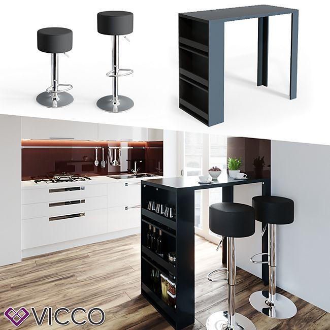 VICCO Bartisch Bar Tresen drei Farben Bartresen Stehtisch Tisch Bistrotisch  Küche inkl. Barhocker