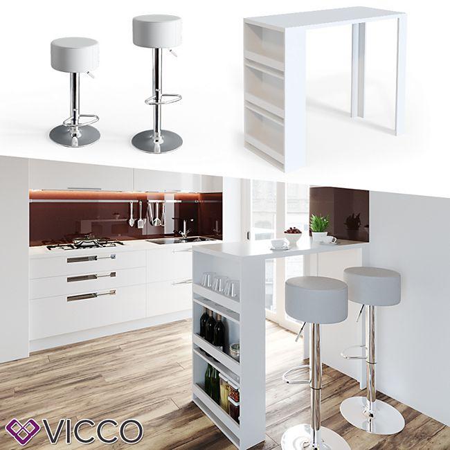 VICCO Bartisch Bar Tresen drei Farben Bartresen Stehtisch Tisch Bistrotisch Küche inkl. Barhocker - Bild 1