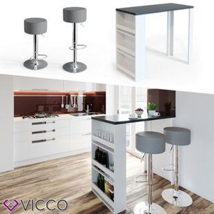 VICCO Bartisch Bartresen Stehtisch Tisch Tresentisch Bistrotisch Weiß Anthrazit - Bild 1