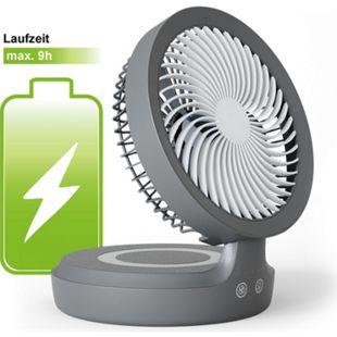 Eldstad Mini USB Ventilator Tischventilator LED Licht Akku Schreibtisch 4 Stufen - Bild 1