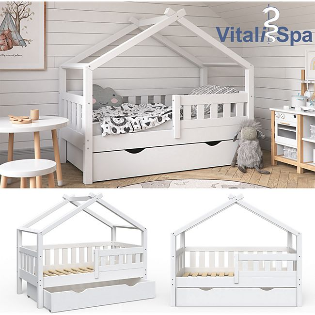 VitaliSpa Design Kinderbett 140x70 Babybett Jugendbett mit Schublade Lattenrost - Bild 1