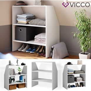 VICCO Dachschrägenregal Bücherregal Wandregal Standregal Regal Dachschräge Weiß - Bild 1