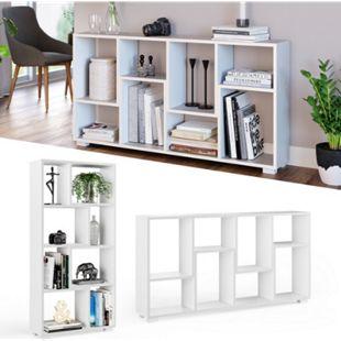 Vicco Raumteiler Domus 8 offene Fächer weiß Bücherregal Standregal Aktenregal - Bild 1