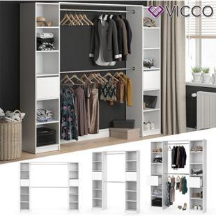 VICCO Kleiderschrank GUEST XL offen begehbar Regal Kleiderständer Schrank weiß - Bild 1