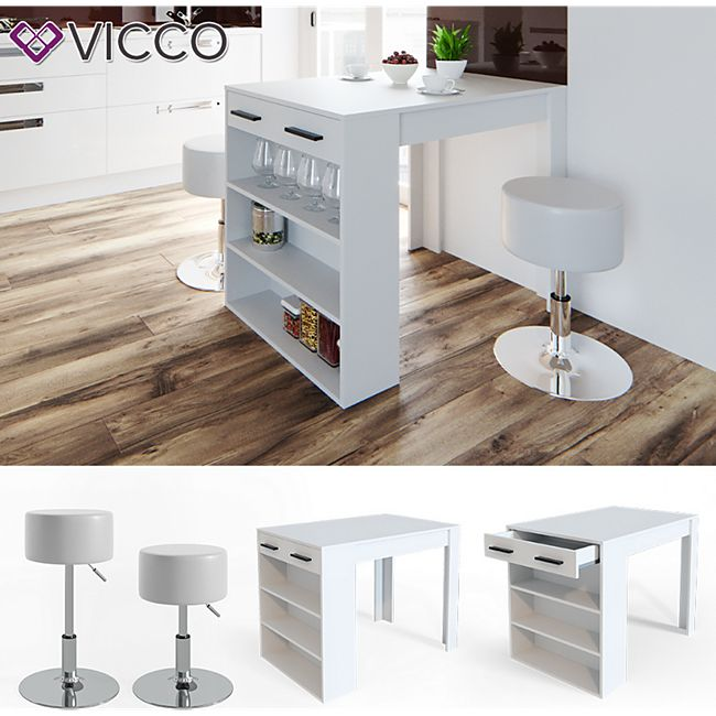 Vicco Bartisch Esstisch Tisch Bistrotisch Essplatz Schublade Regal Bar Weiß inkl. Barhocker - Bild 1