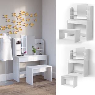 Vicco Schminktisch Charlotte Frisiertisch Frisierkommode Kosmetiktisch Weiß mit Sitzbank - Bild 1