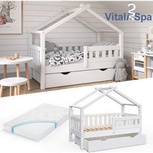 VitaliSpa Design Kinderbett 140x70 Babybett Jugendbett mit Schublade Lattenrost Matratze - Bild 1