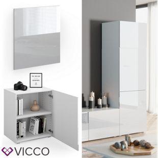 VICCO Tür Front COMPO M8 weiß hochglanz Groß Schublade Aktenschrank Bücherregal - Bild 1