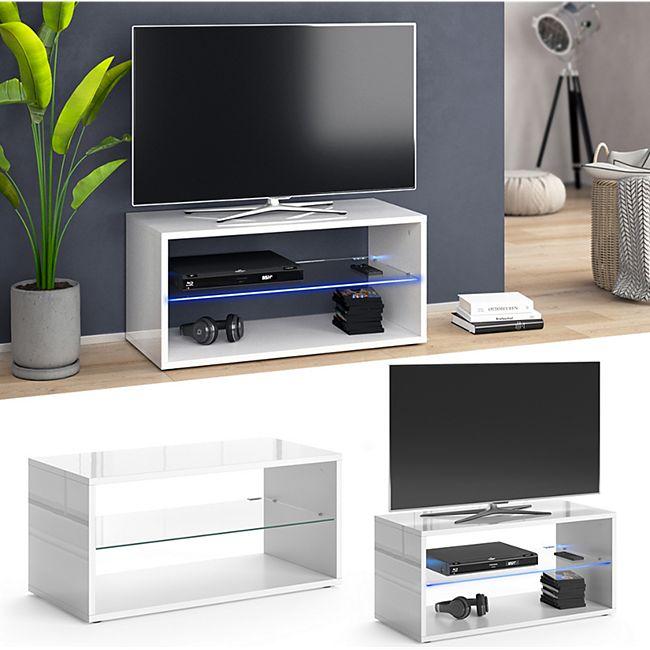 Vicco Lowboard Rio TV-Board weiß mit LED Beleuchtung Fernsehschrank TV-Schrank - Bild 1