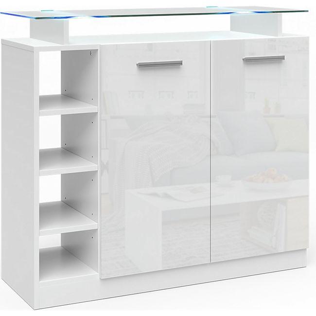 Vicco Kommode Asti 2 Türen Highboard LED Beleuchtung Glasablage Anrichte Schrank - Bild 1