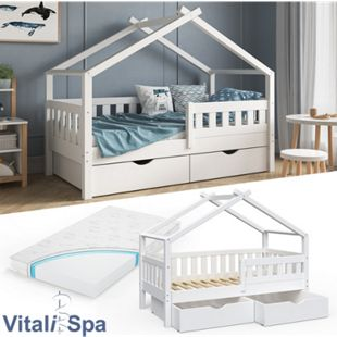 VitaliSpa Design Kinderbett 160x80 Babybett Jugendbett 2 Schubladen Lattenrost Matratze - Bild 1
