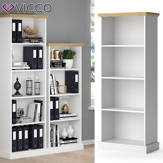 Vicco Bücherregal Cambridge weiß 4 Fächer Standregal Büroregal Holzregal Regal - Bild 1