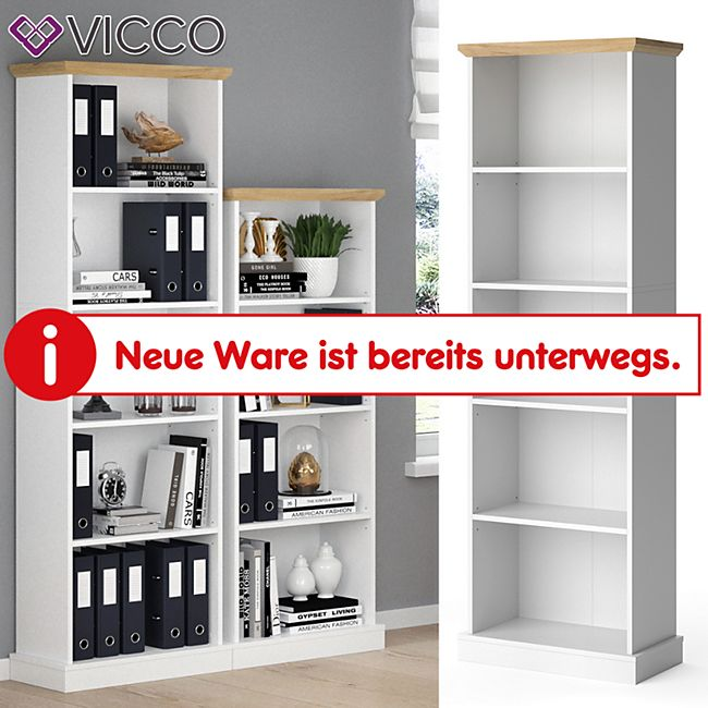 Vicco Bücherregal Cambridge weiß 5 Fächer Standregal Büroregal Holzregal Regal - Bild 1