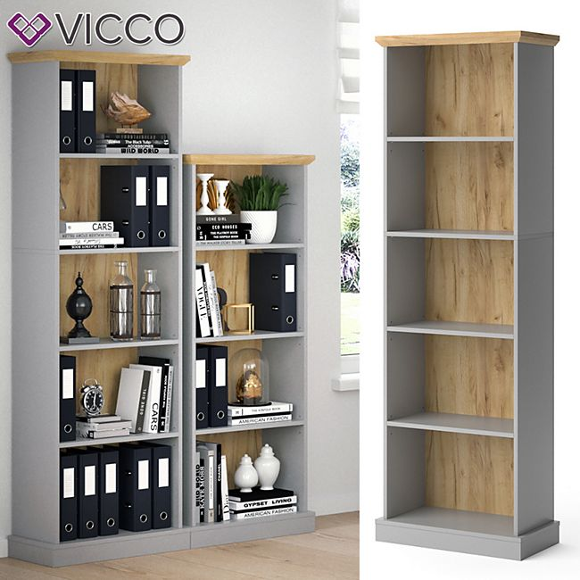 Vicco Bücherregal Cambridge grau 5 Fächer Standregal Büroregal Holzregal Regal - Bild 1